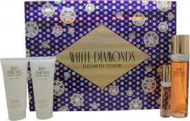 Taylor Elizabeth Taylor White Diamonds Gift Set 100ml EDT + 100ml Body Lotion + 100ml Shower Gel + 10ml EDP
