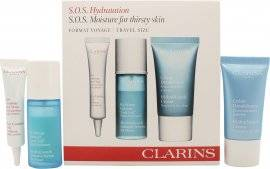 Clarins HydraQuench Lahjasetti SOS Hydration Kit - 15ml HydraQuench Voide Normaali/Kuiva Iho + 15ml HydraQuench Intensive Seerumi Bi-Phase + 10ml Eye Contour Geeli