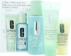 Clinique 3-Step Skincare Gift Set 50ml Liquid Facial Soap Oily Skin Formula + 100ml Clarifying Lotion 4 Oily + 30ml Dramatically Different Moisturizing Gel Combination Oily To Oily