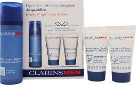 Clarins Men Everyday Hydration Gift Set 50ml Super Moisture Balm + 30ml Shampoo & Shower Gel + 30ml Active Face Wash