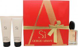 Image of Giorgio Armani Si Gift Set 50ml EDP + 75ml Shower Gel + 75ml Body Lotion