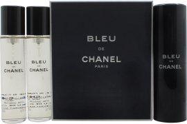Chanel Bleu de Chanel Lahjasetti 3 x 20ml EDT (1 Matka Suihke + 2 Täyttöpulloa)