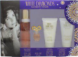 Taylor Elizabeth Taylor White Diamonds Gift Set 50ml EDT + 50ml Body Lotion + 50ml Body Wash + 3.7ml EDP