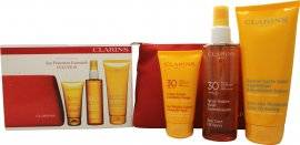Clarins Sun Protection Essentials Gift Set 75ml Sun Wrinkle Control Cream UVB30 + 150ml Sun Care Oil Spray UVB30 + 200ml After Sun Ultra Hydrating Moisturizer + Travel Bag