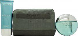 Bvlgari Aqva Marine Gift Set 100ml EDT +100ml Aftershave Balm + Pouch
