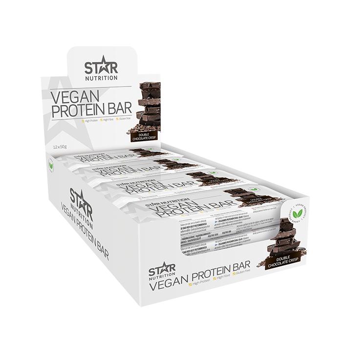 Star Nutrition 12 x Vegan Protein bar, 50 g, Double chocolate crisp, LYHYT PÄIVÄMÄÄRÄ