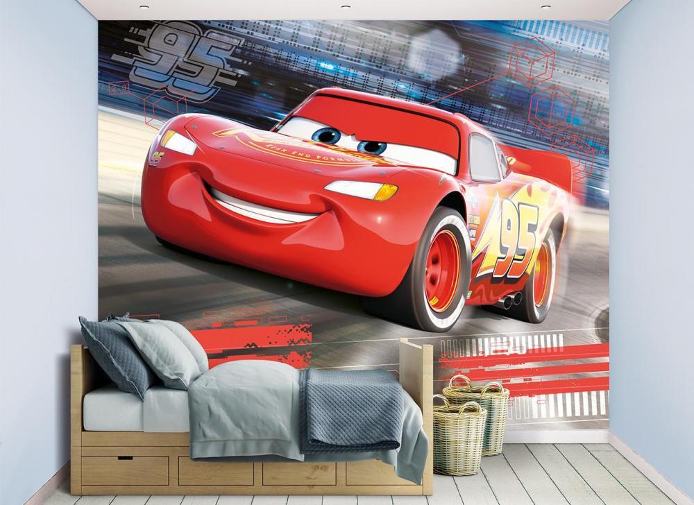 Cars Salama McQueen tapetti - Walltastic Disney Autot 45378