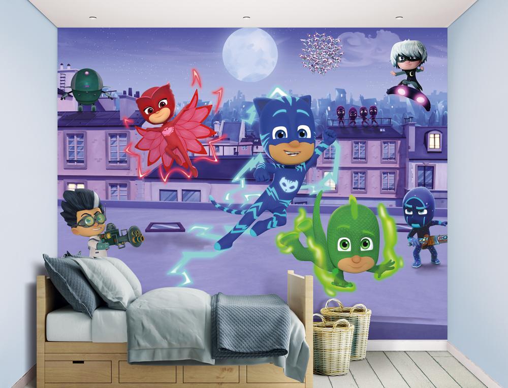 PJ Masks Walltastic Pyjamasankarit tapetti - Walltastic PJ Masks 45194