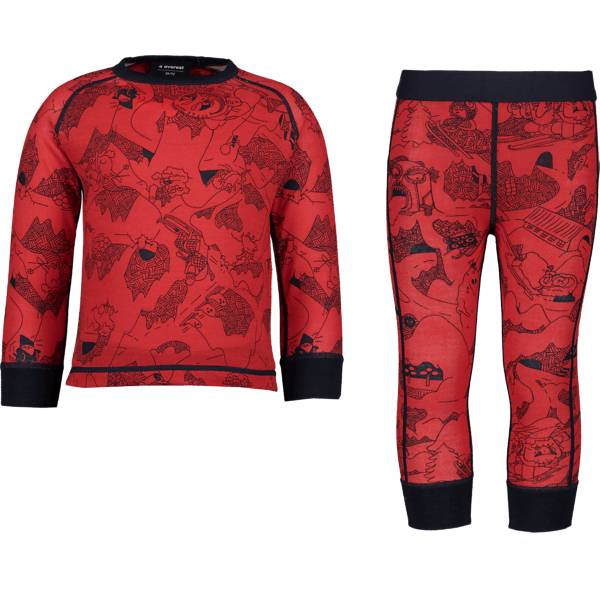 Image of Everest K Print Wool Underwear Set Lasketteluvaatteet NAVY/PRINTED (Sizes: 86-92)