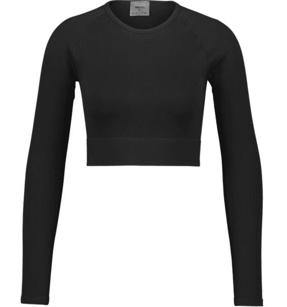 Image of Aim´n W Ribbed Seamless Crop Long Sleeve Treenivaatteet BLACK (Sizes: XS)
