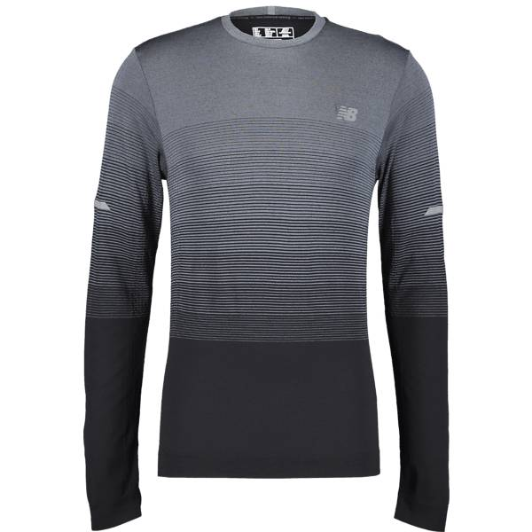 New Balance M Merino Ombre Ls Juoksuvaatteet GREY/BLACK (Sizes: XL)