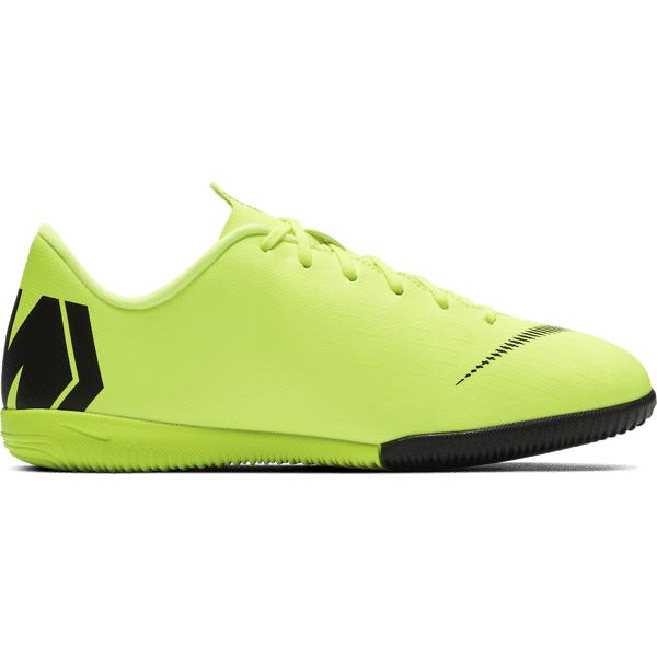 Nike Jr Vaporx 12 Academy Gs Ic Jalkapallokengät VOLT/BLACK (Sizes: US 2.5)