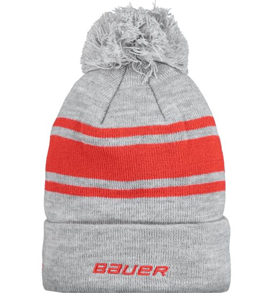 Bauer Team Stripe Pom Pom Pipot GREY/RED (Sizes: One size)