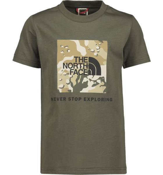 Image of The North Face J Y Box Ss Tee T-paidat GREEN DESERT (Sizes: JR S)