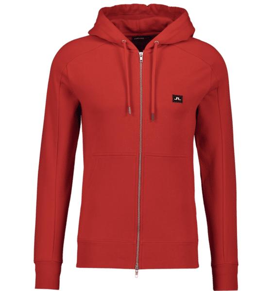 Image of J Lindeberg M Throw Zip Hood Cotton Sweat Hupparit DEEP RED (Sizes: S)