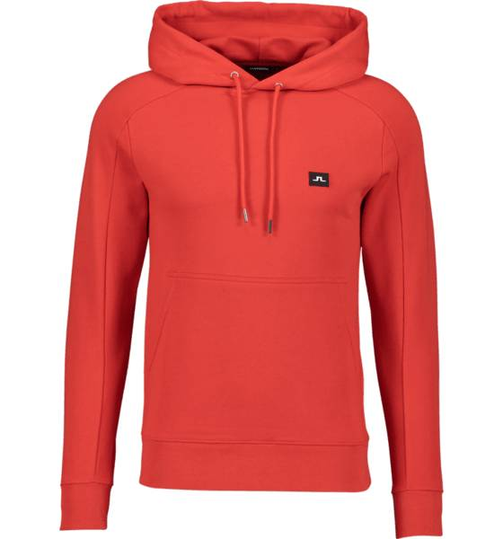 Image of J Lindeberg M Throw Hood Cotton Sweat Collegepaidat DEEP RED (Sizes: S)
