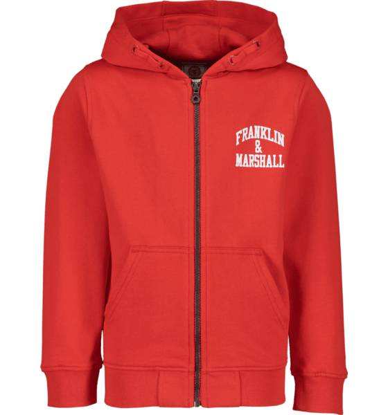 Marshall Franklin & Marshall J Ba Logo Zip Hood Hupparit HIGH RISK RED (Sizes: 10-11 Y)