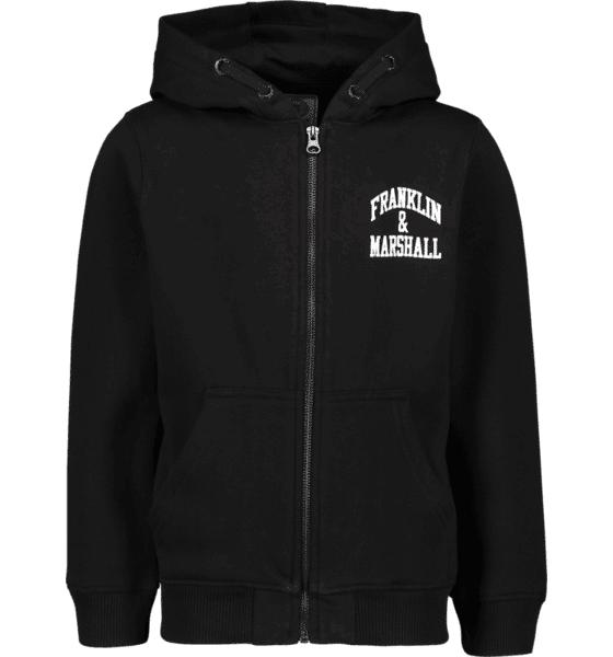 Marshall Franklin & Marshall J Badge Logo Zip Hood Hupparit BLACK (Sizes: 7-8 Year)