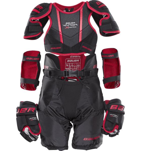 Bauer Vapor Mtrx Yth Kit Jääkiekkosuojat BLACK/RED (Sizes: JR S)