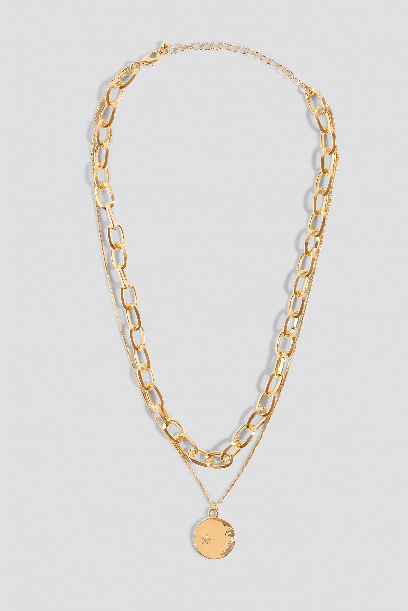 NA-KD Accessories Chain Pendant Double Necklace - Gold