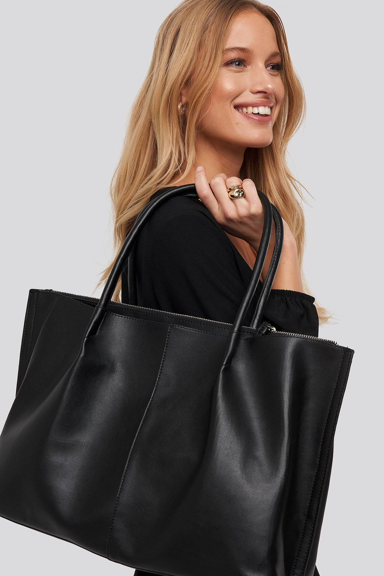 NA-KD Accessories Slim Handle Shopper - Black