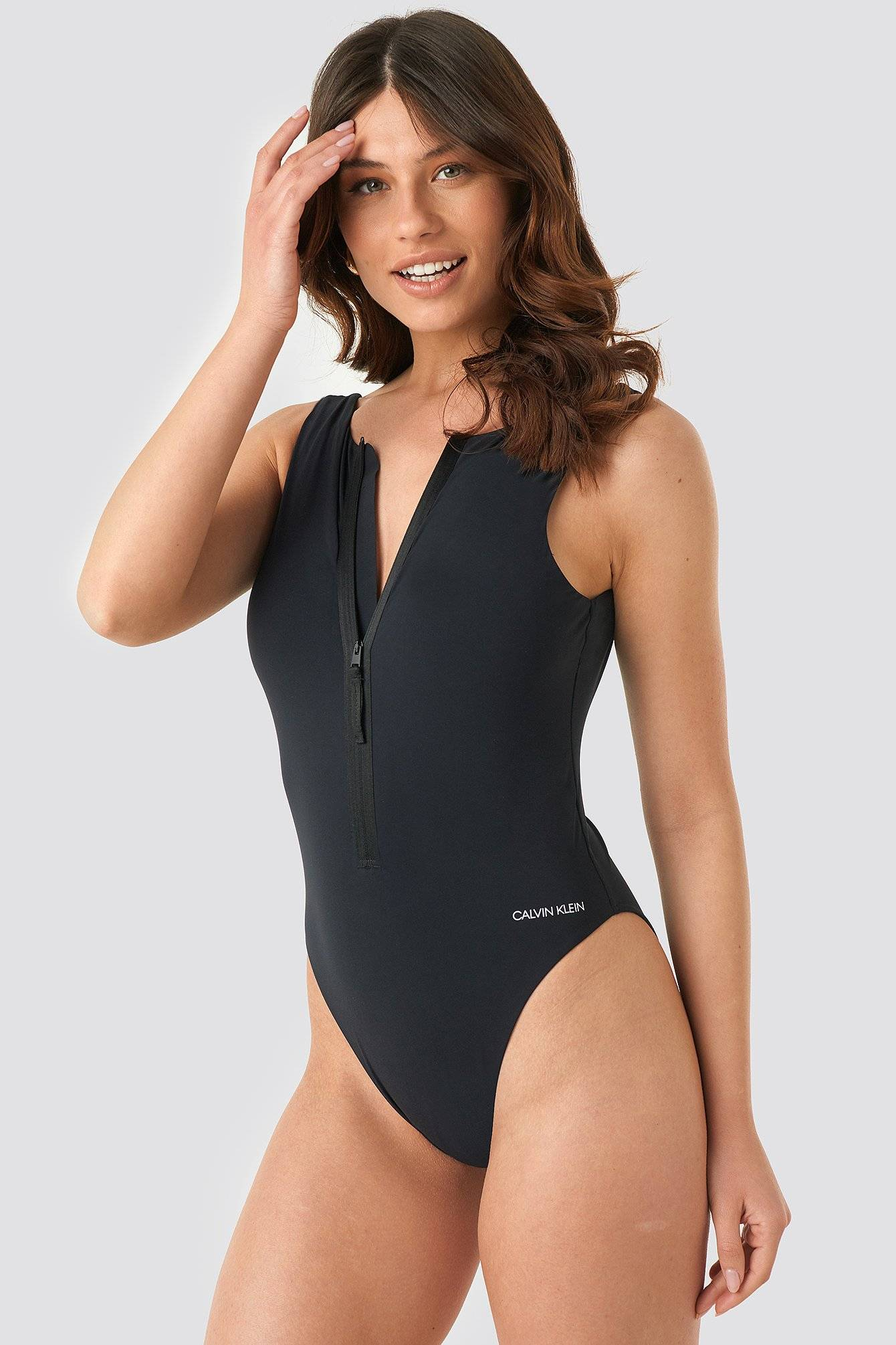 Calvin Klein Square Back One Piece Swimsuit - Black  - Size: Small