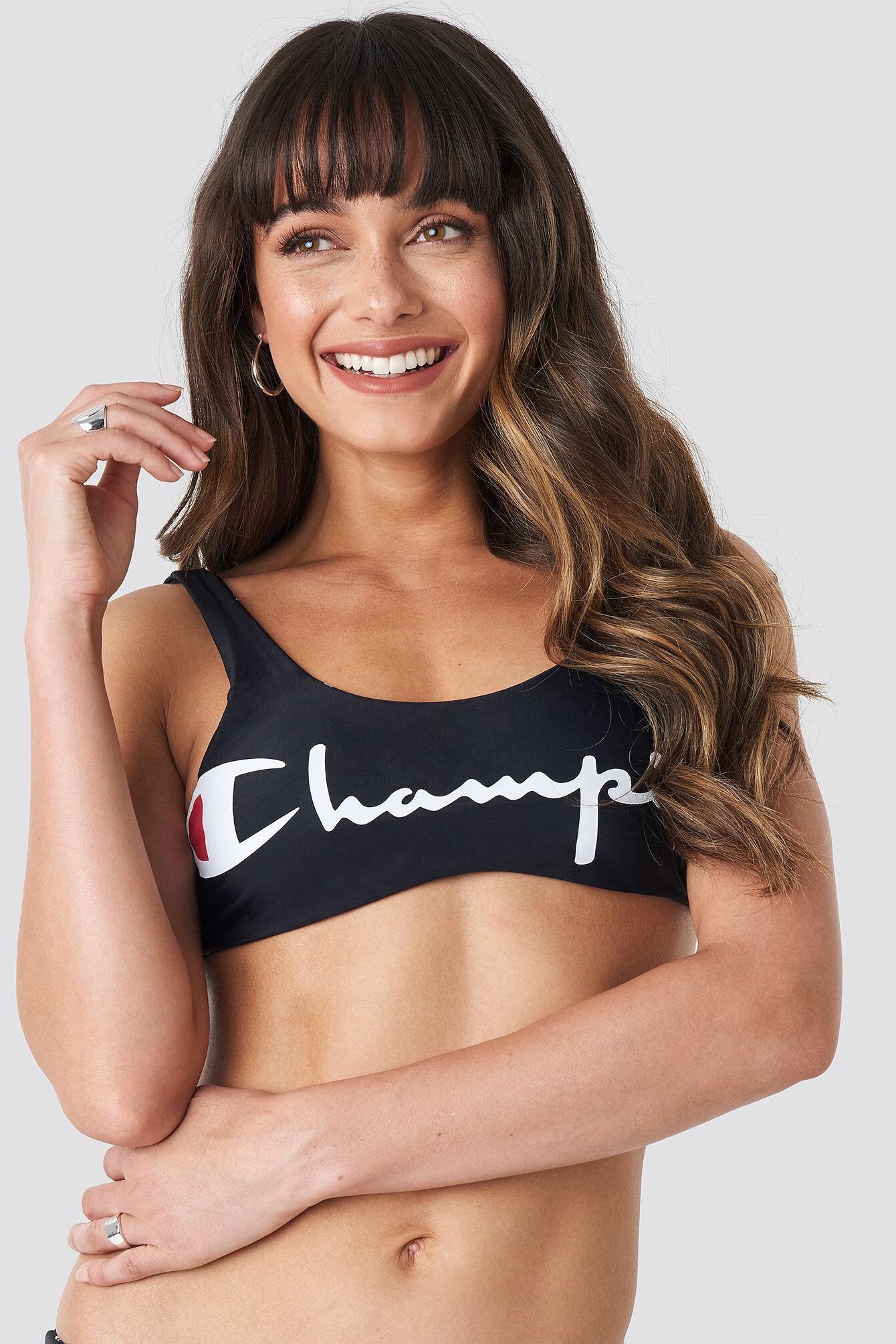 Champion Aop Bikini Top - Black  - Size: Small