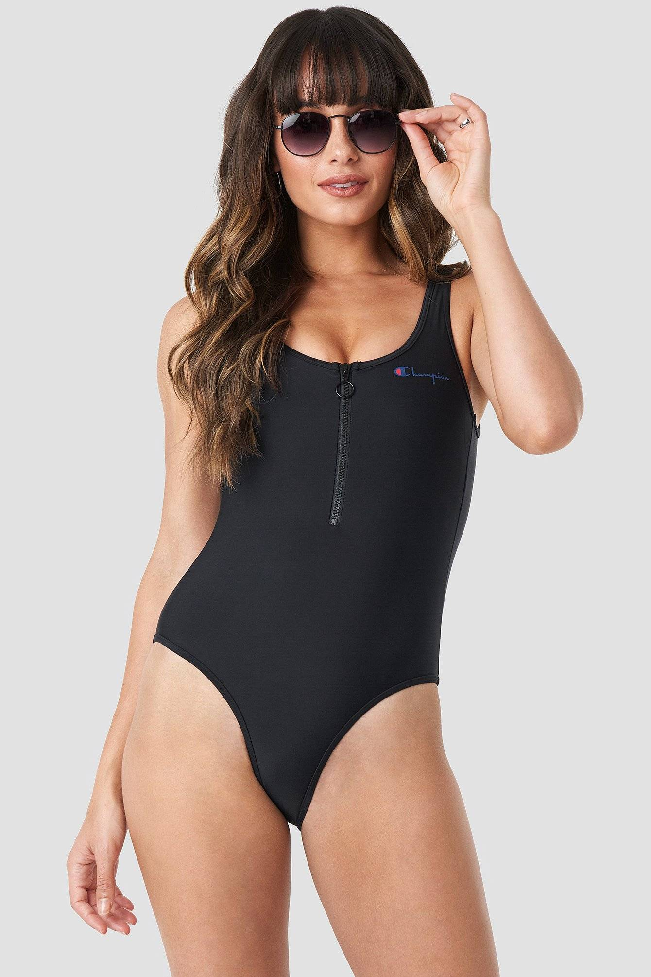 Champion Zipper Swimsuit - Black  - Size: Small