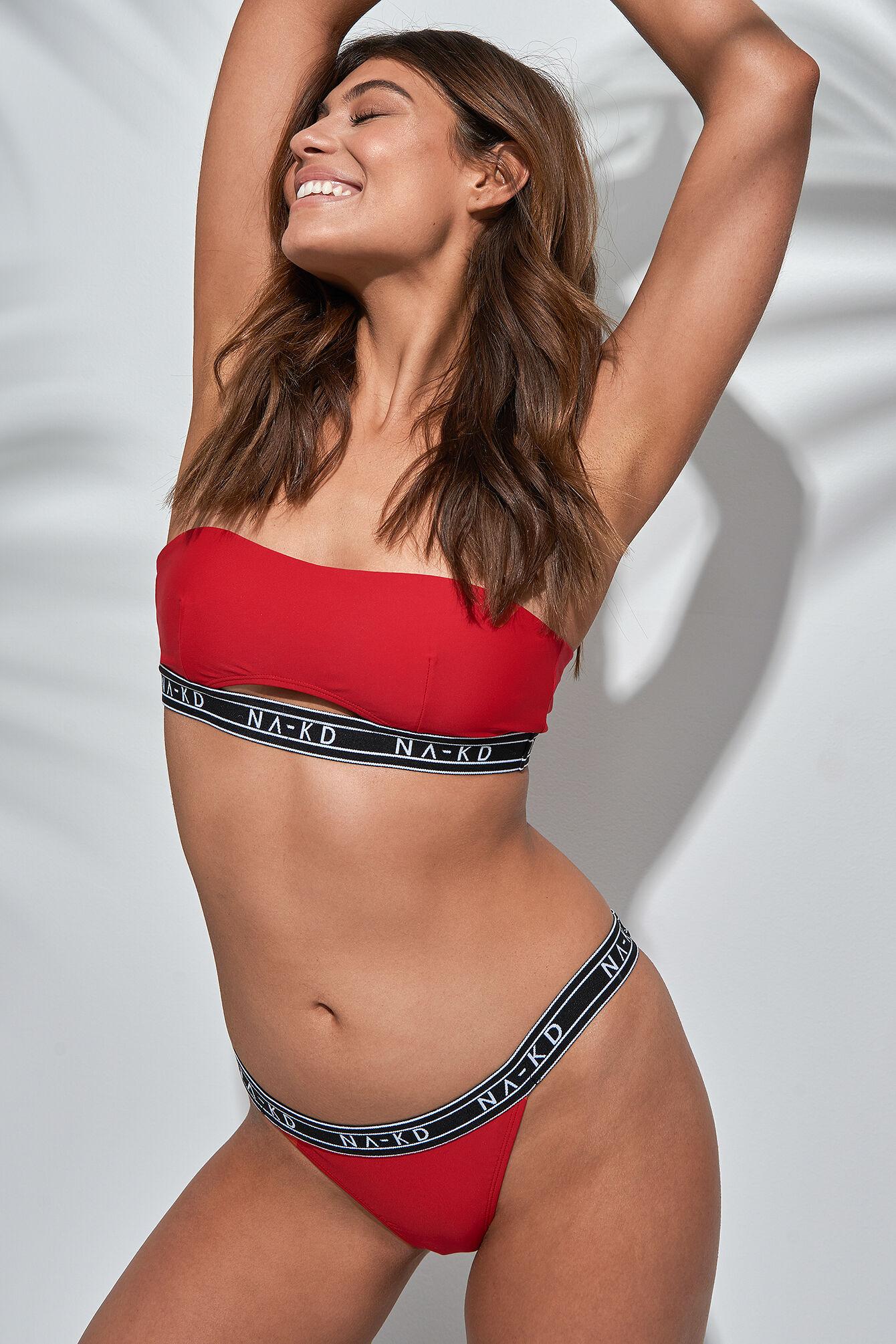 NA-KD Swimwear Logo Panty - Red