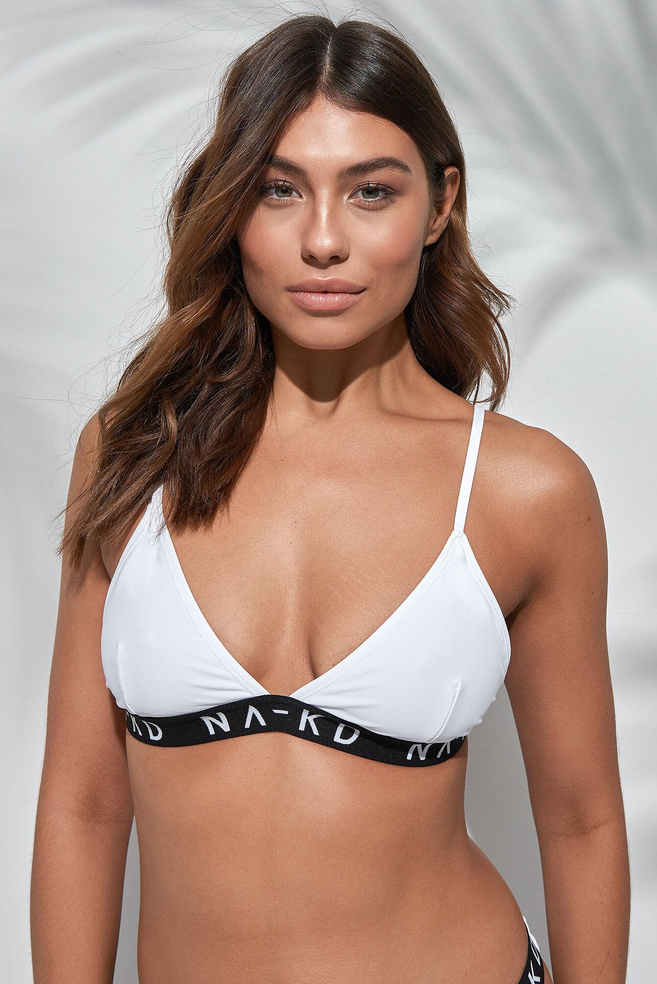 NA-KD Swimwear Sporty Logo Triangle Bikini - White