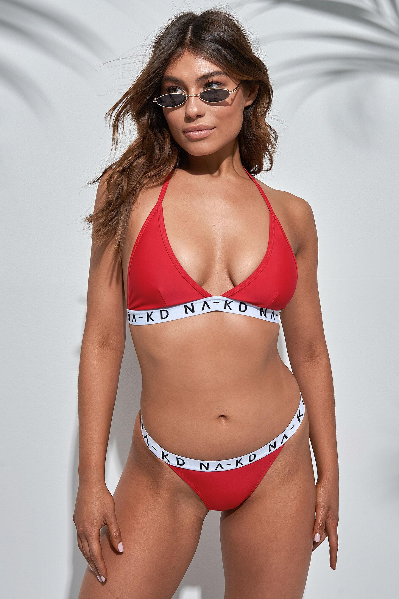 NA-KD Swimwear Thin Sporty Logo Bikini Panty - Red