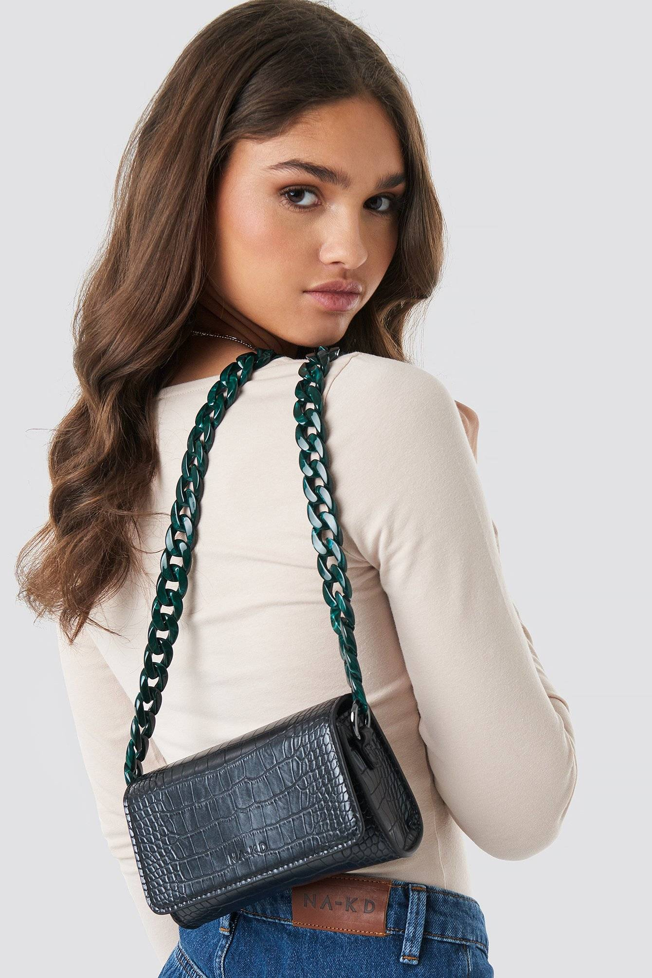 NA-KD Accessories Pop Chain Cross Body Bag - Black