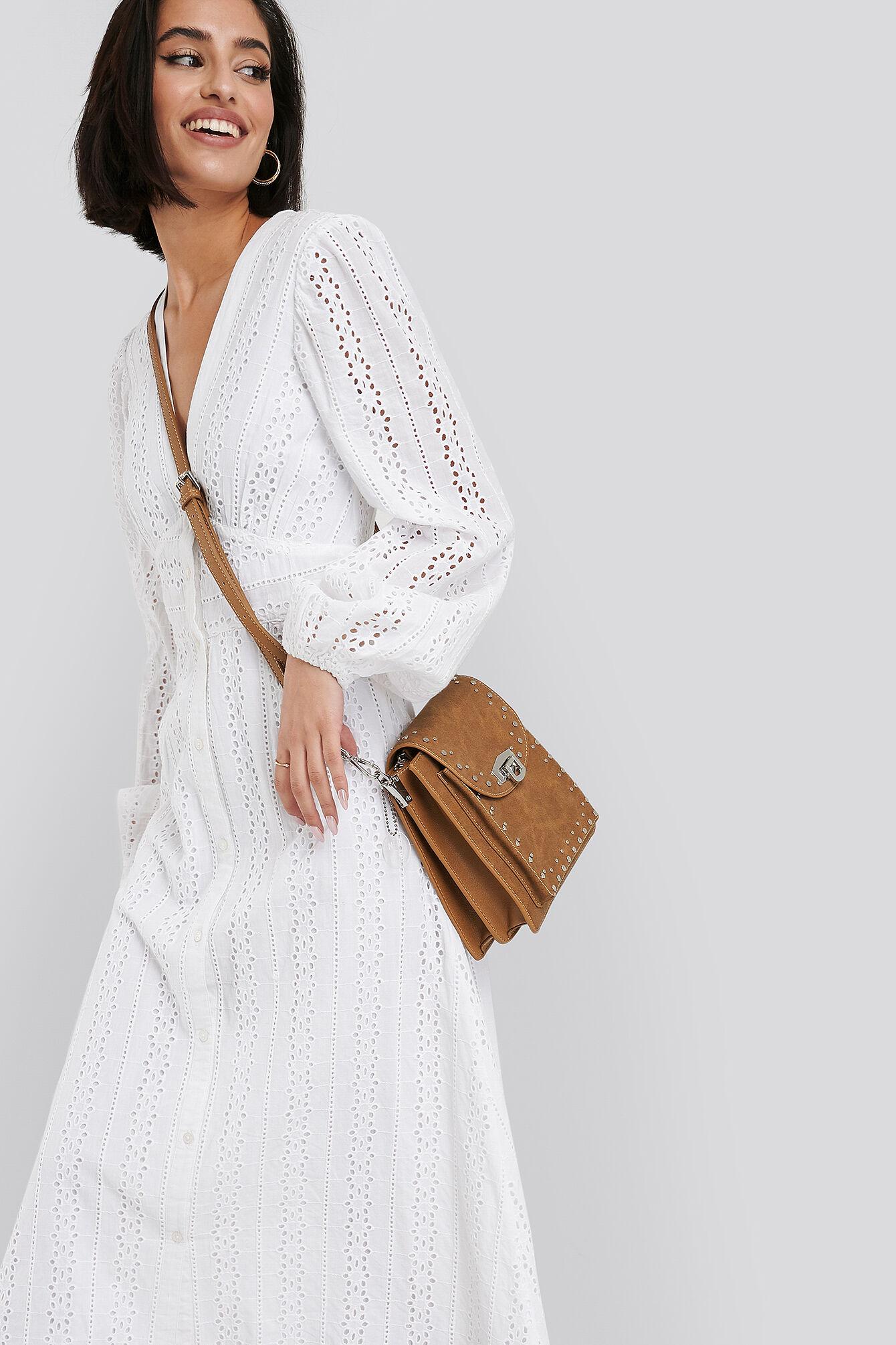 NA-KD Accessories Studded Shoulder Bag - Brown
