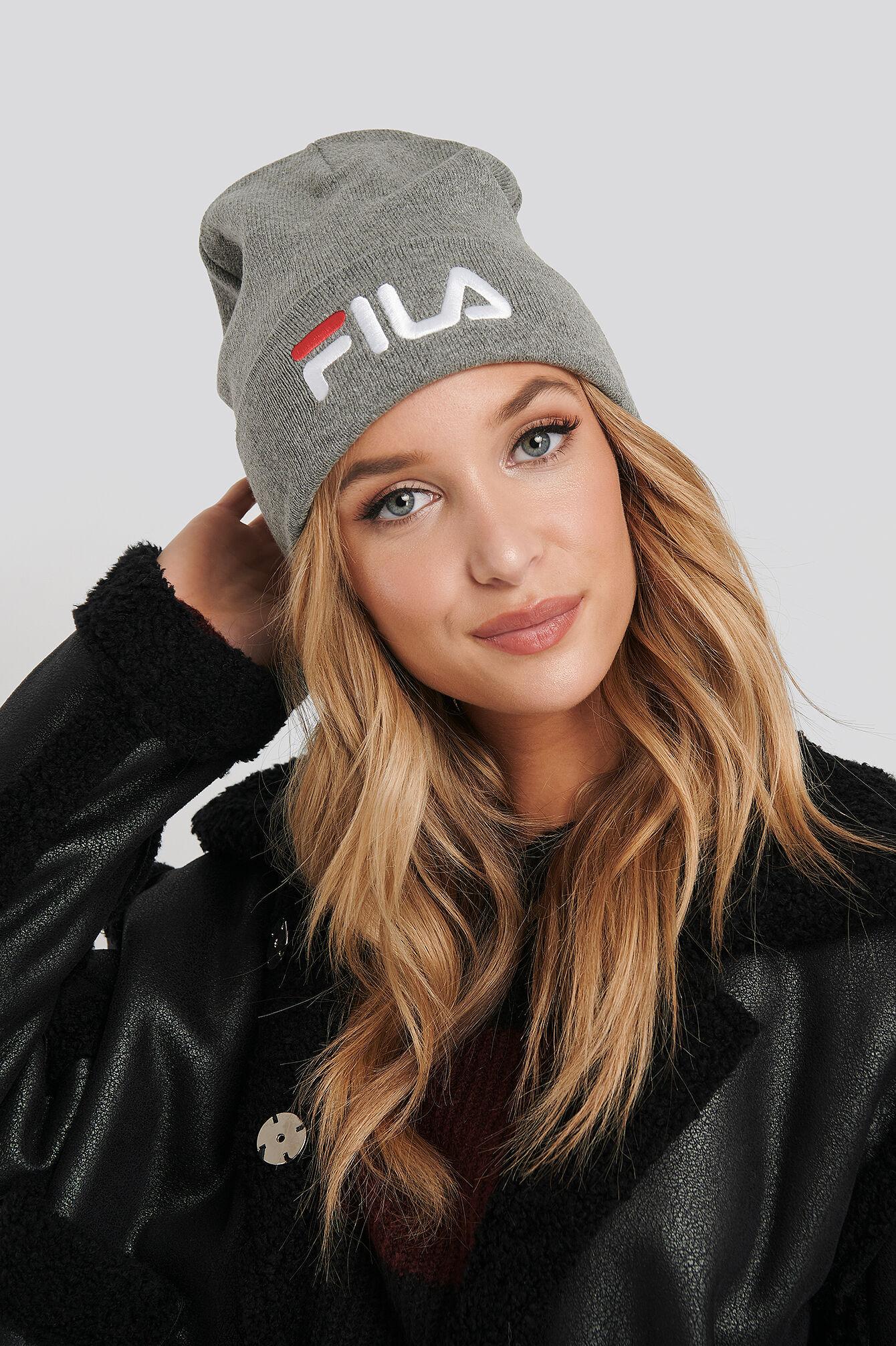 FILA Slouchy Beanie Leniar Logo - Grey  - Size: One Size