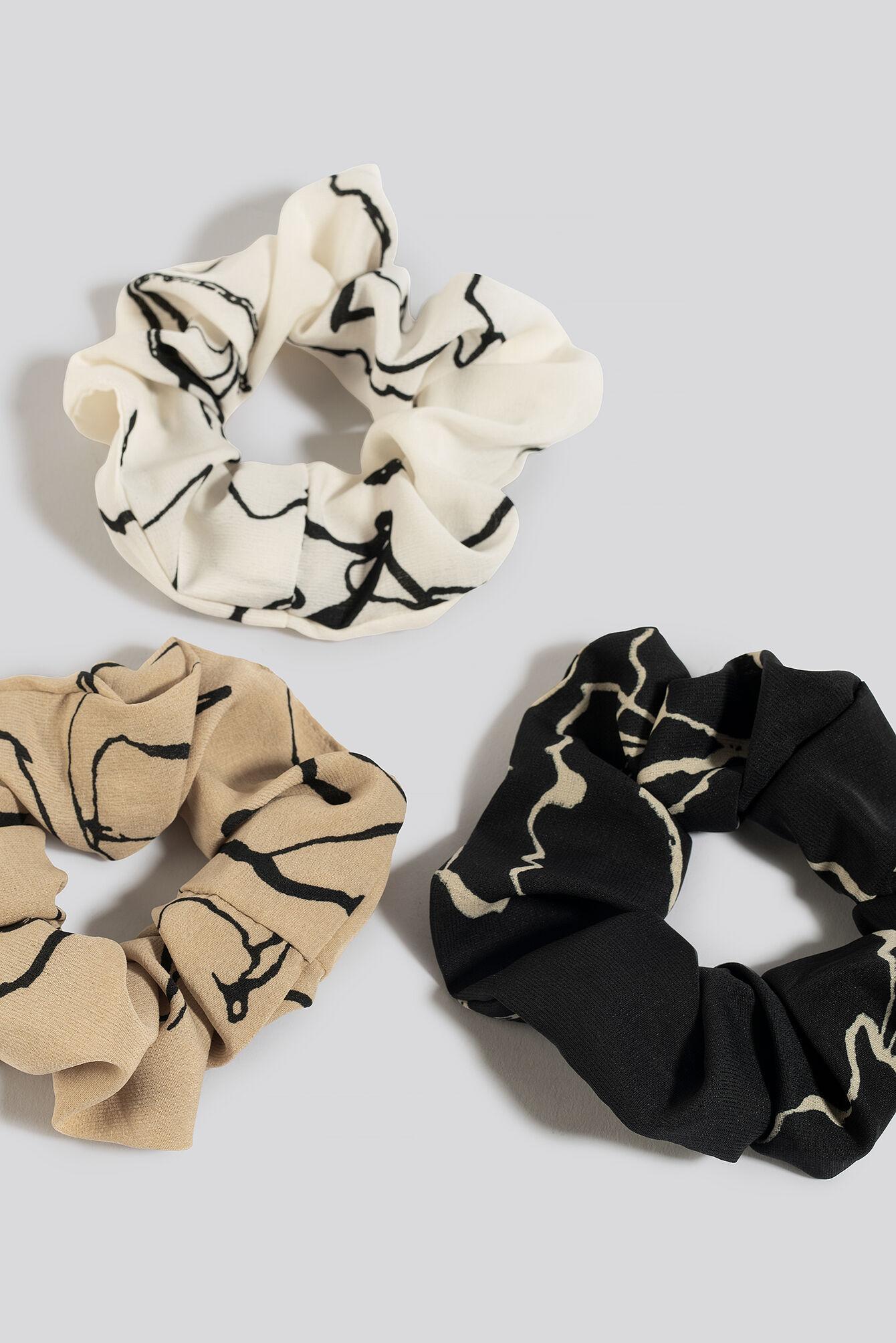 Image of NA-KD Accessories 3-Pack Floral Ink Print Scrunchies - Black,Brown,White,Beige