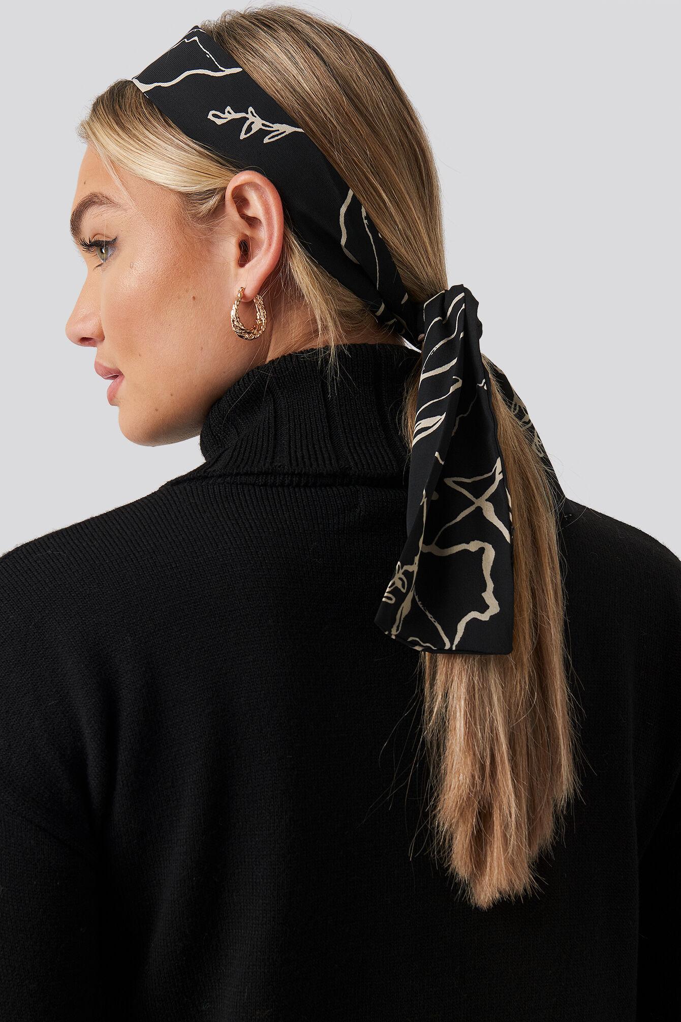 Image of NA-KD Accessories Ink Print Slim Hair Scarf (065) - Black