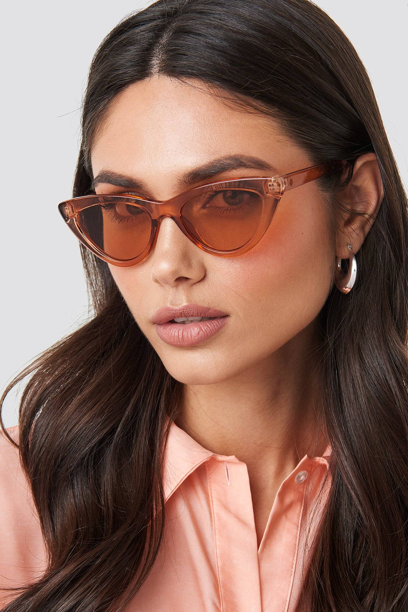NA-KD Accessories Rounded Cat Eye Sunglasses - Red  - Size: One Size