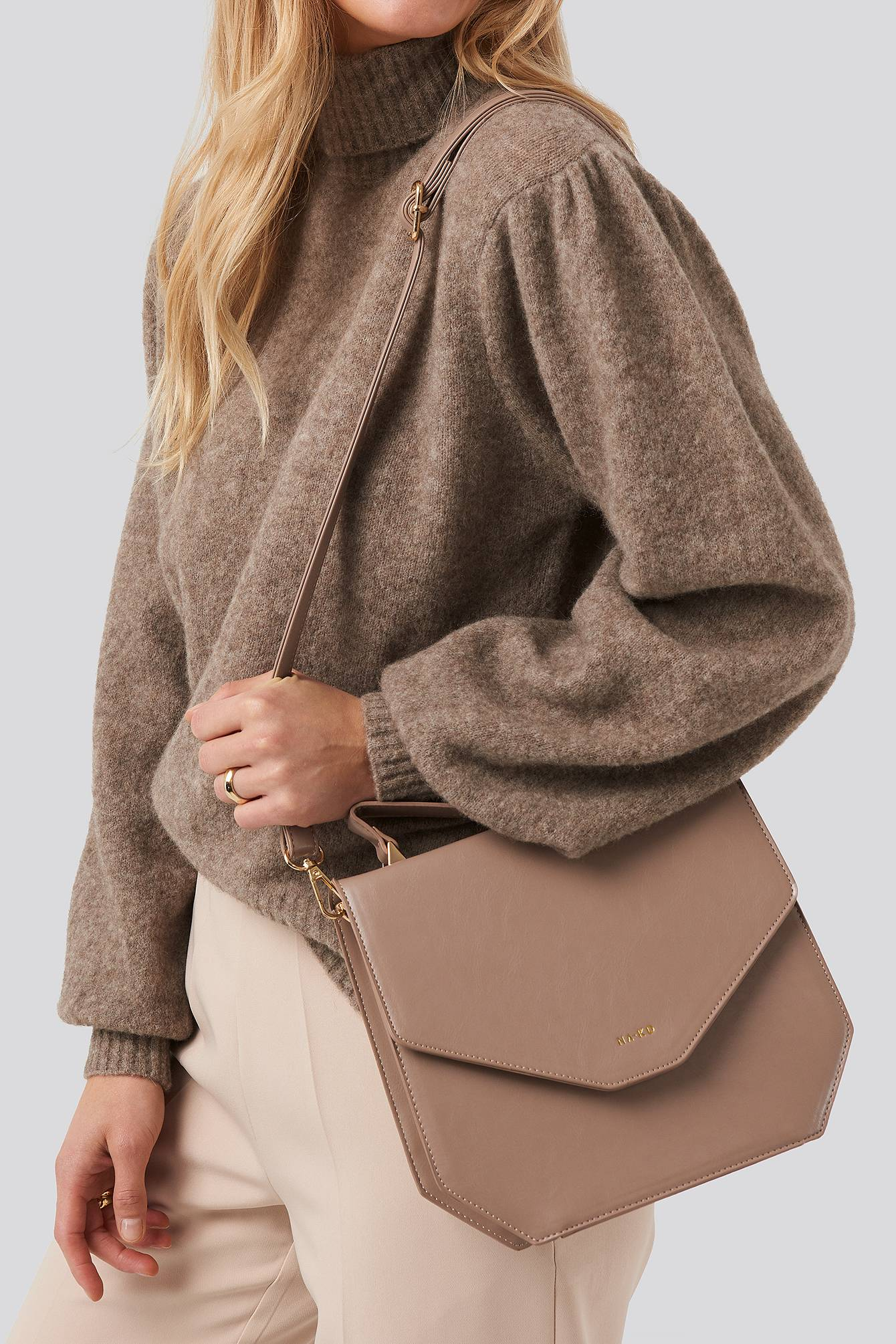 NA-KD Accessories Small Squared Box Bag - Beige  - Size: One Size