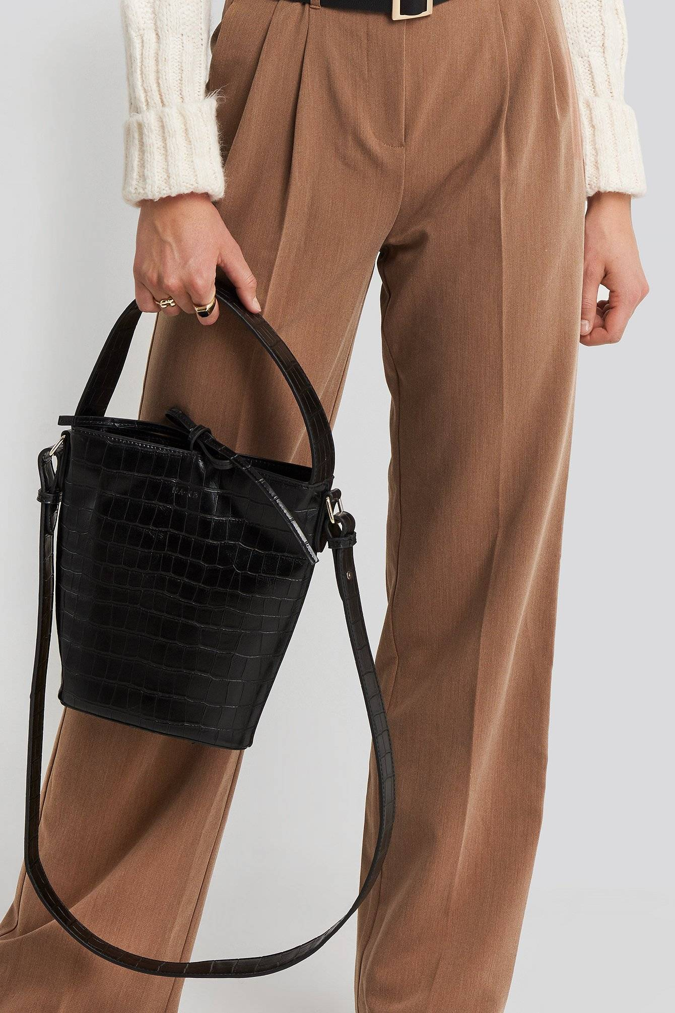 Image of NA-KD Accessories Trapez Bucket Bag - Black