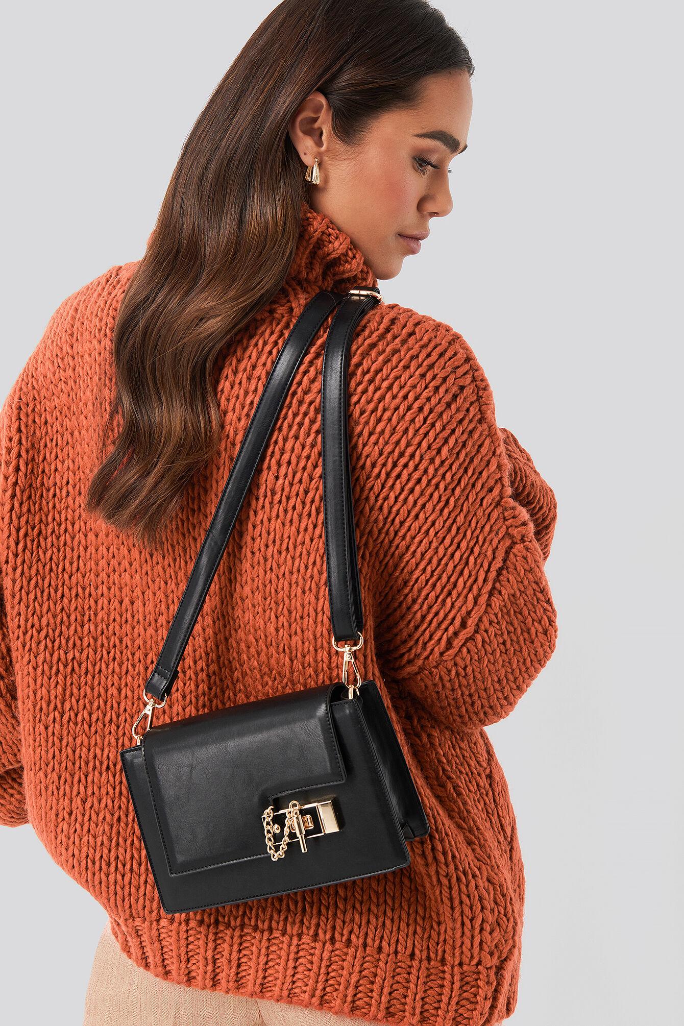 NA-KD Accessories Wide Slide Closure Bag - Black  - Size: One Size