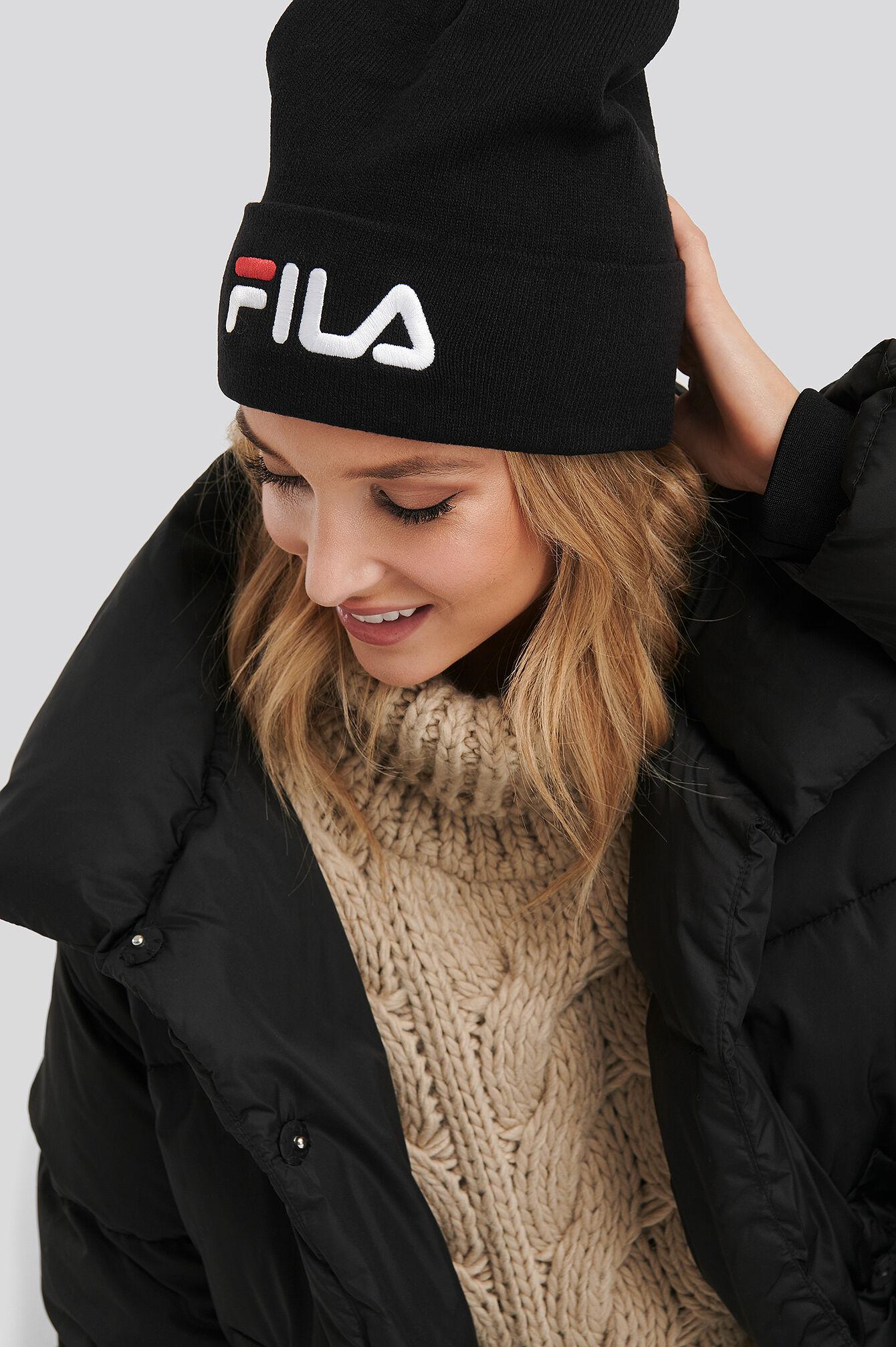 FILA Slouchy Beanie Leniar Logo - Black  - Size: One Size