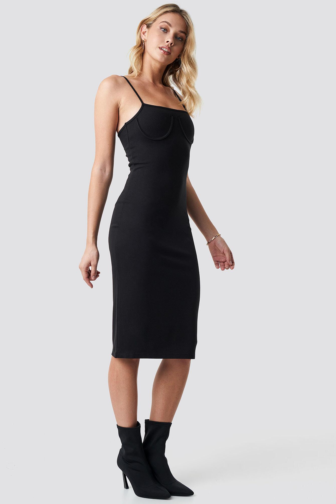 Anna Nooshin x NA-KD Midi Cup Shape Dress - Black