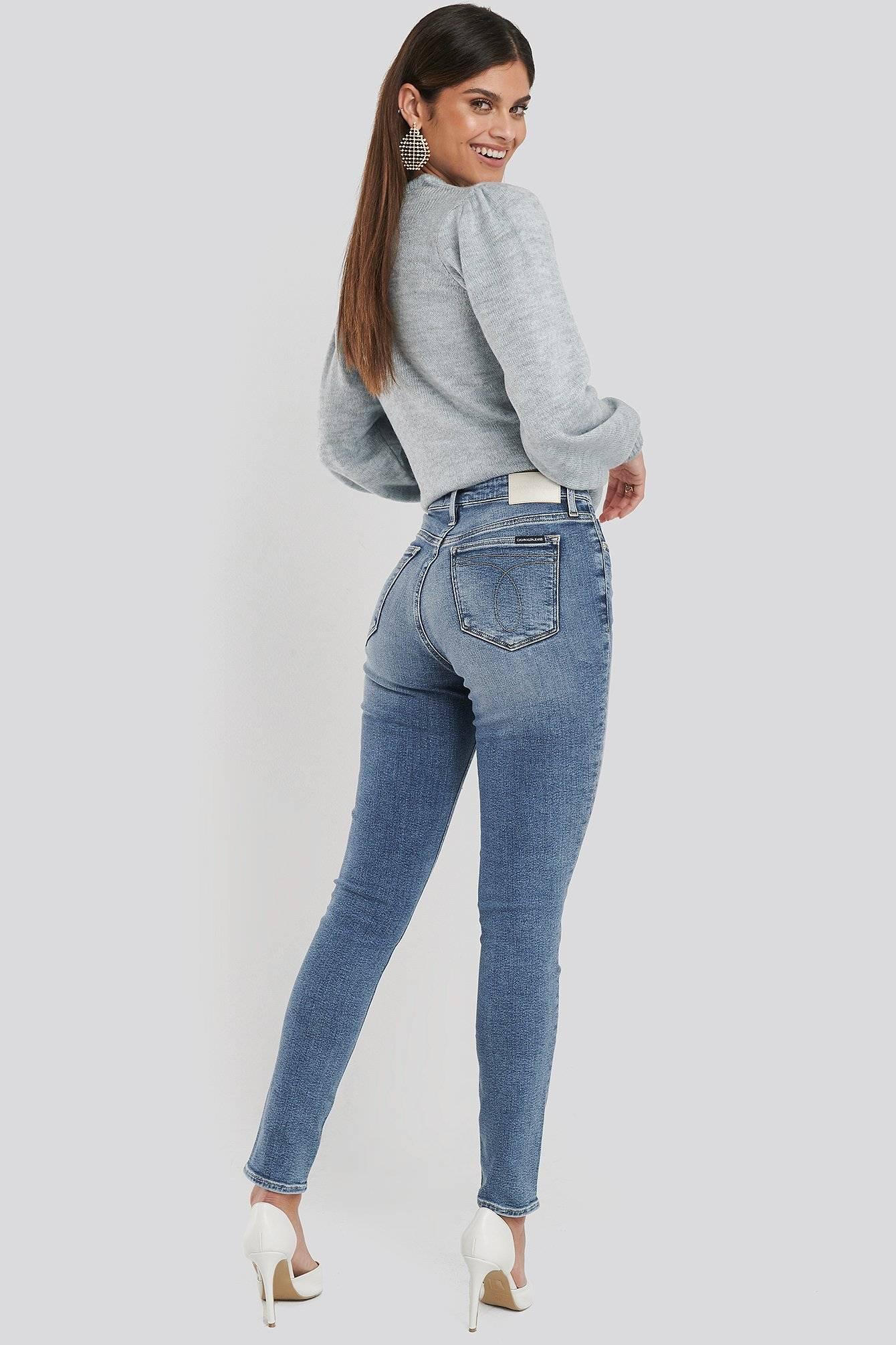 Image of Calvin Klein 010 High Rise Skinny Jeans - Blue  - Size: W24 L30,W25 L30,W26 L30,W27 L30,W28 L30,W29 L30,W