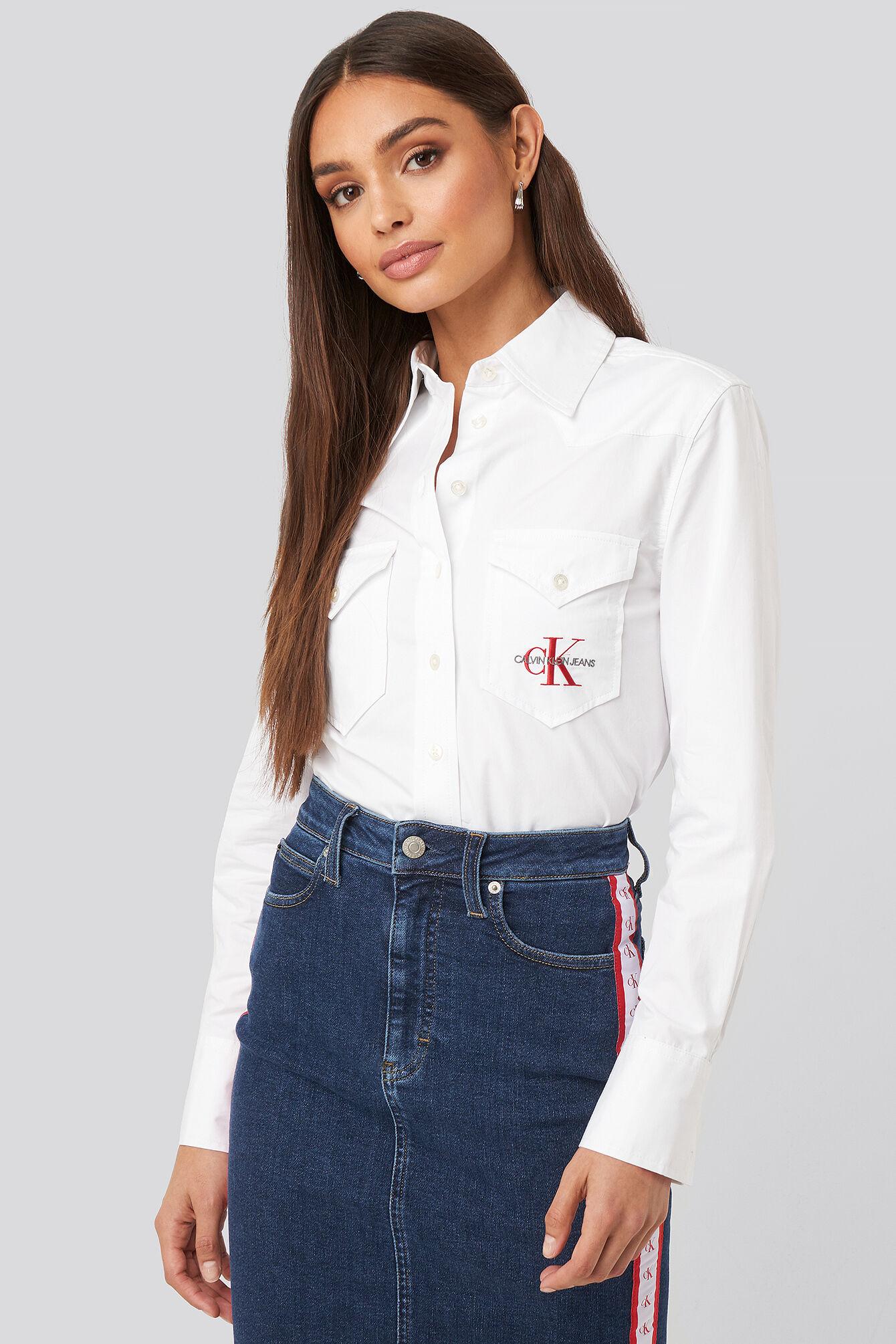 Calvin Klein Cotton Satin Western Crop Shirt - White  - Size: Small