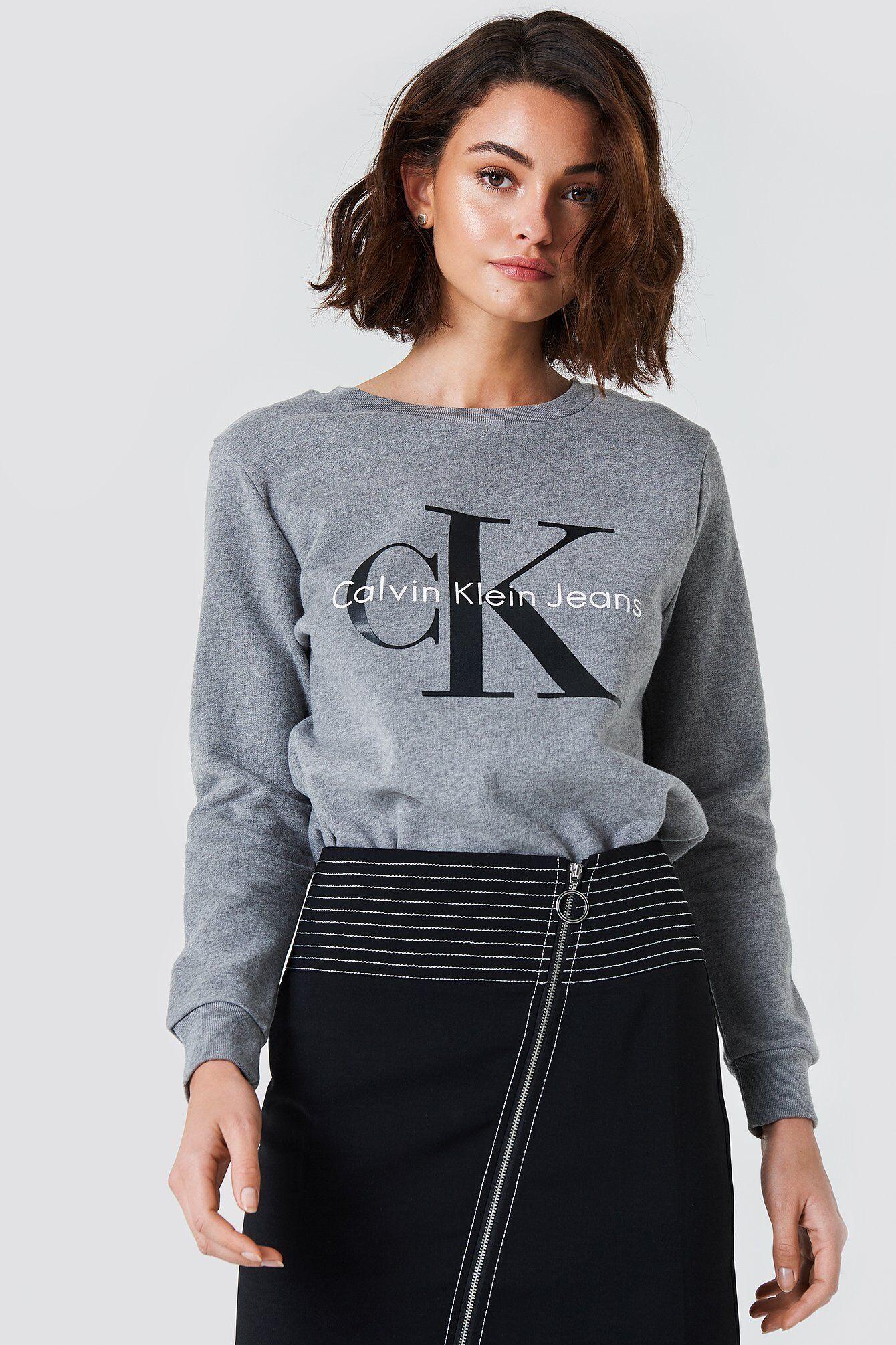 Image of Calvin Klein Crew Neck True Icon Sweatshirt - Grey  - Size: Small