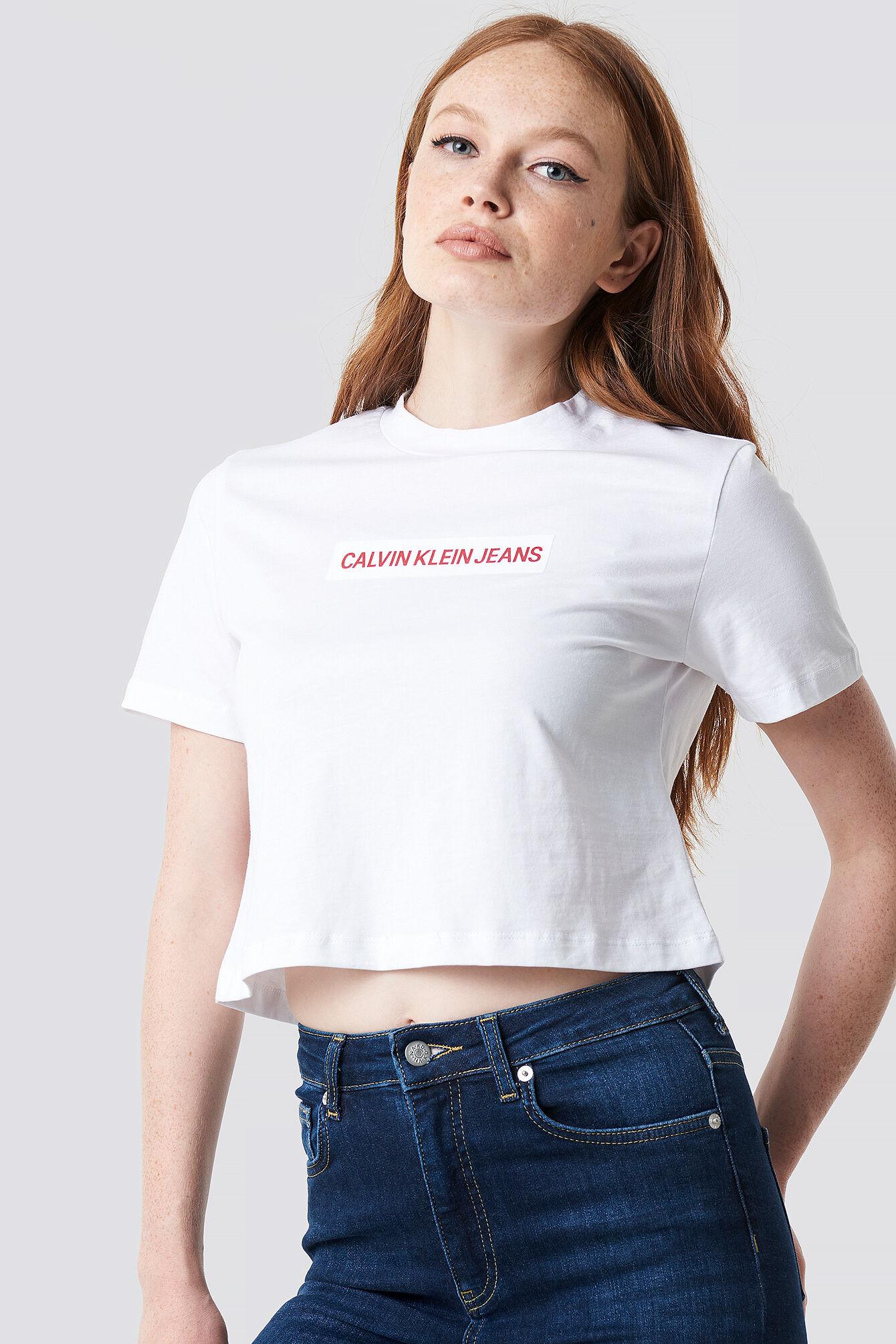 Calvin Klein Croppped Institutional Flock Box Tee - White
