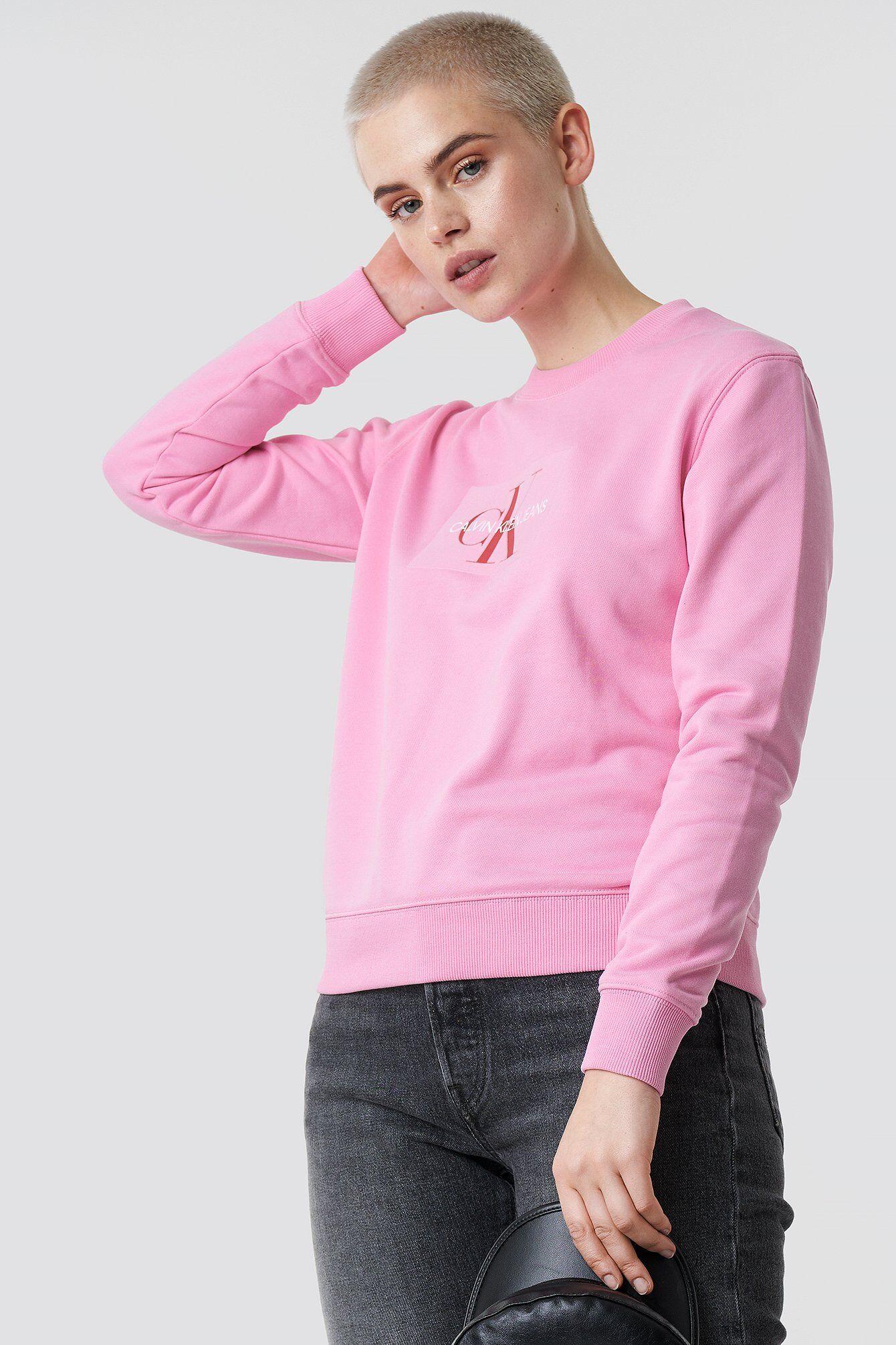 Calvin Klein Monogram Flock Box Logo Reg Crewneck - Pink