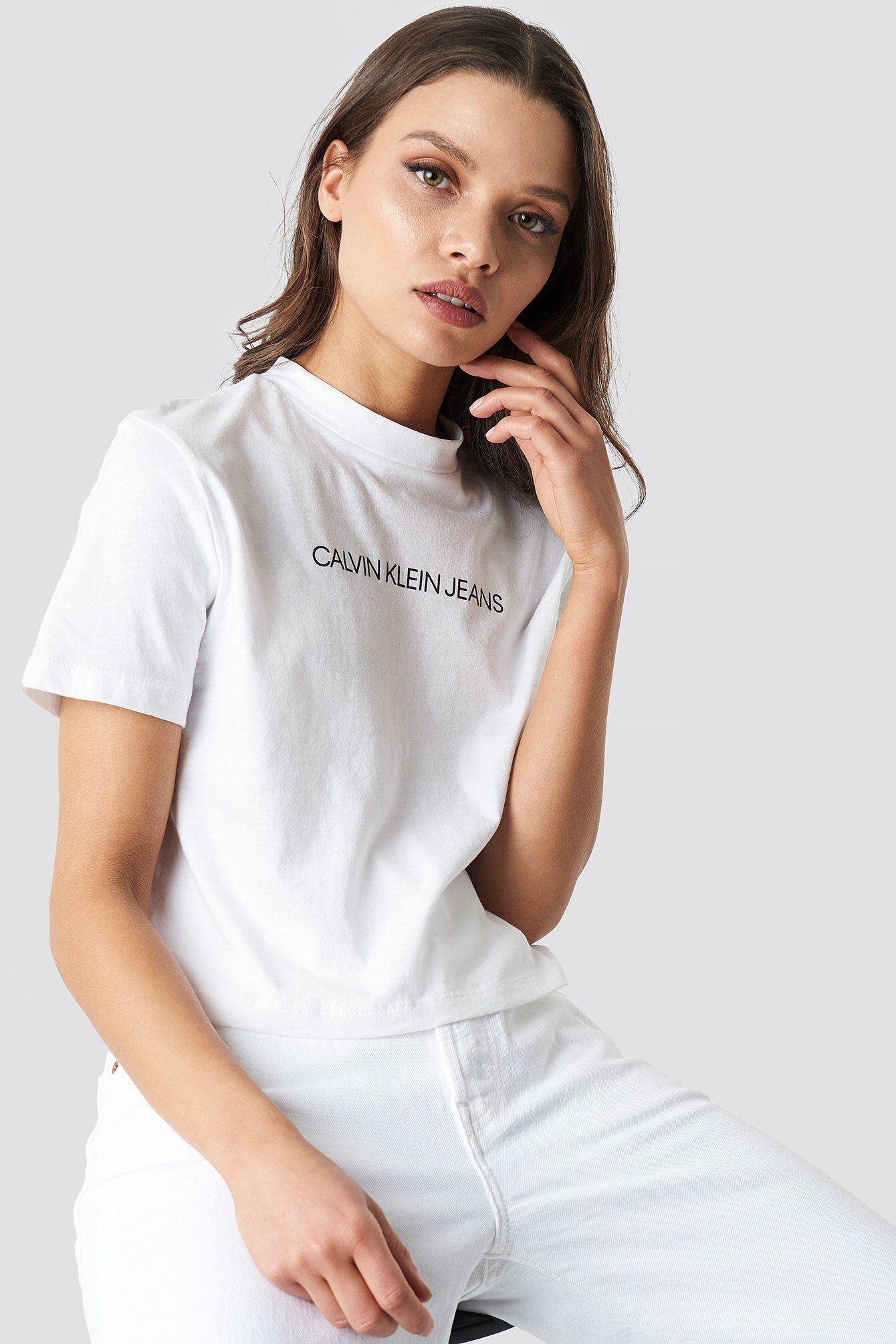 Calvin Klein Shrunken Institutional Crop Tee - White  - Size: Small