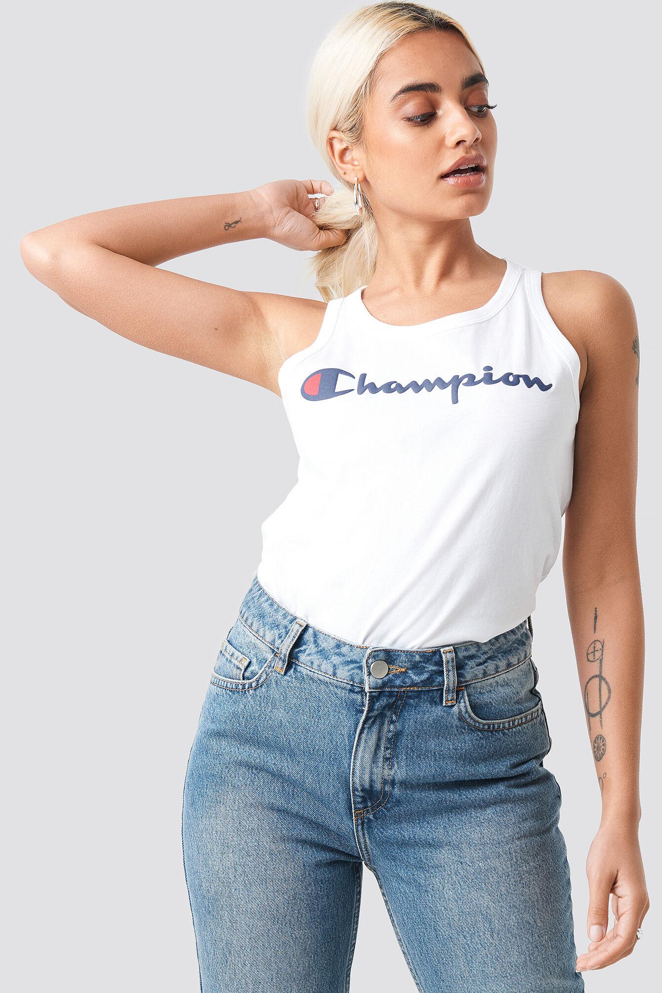 Champion Tank Logo Top - White  - Size: Small