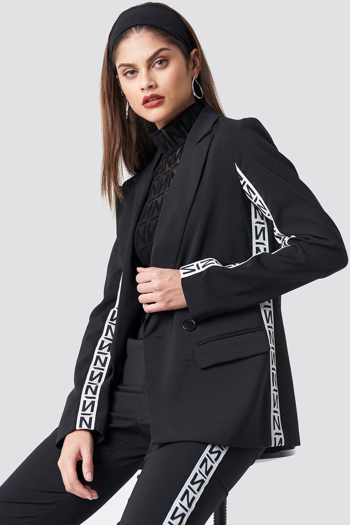 NA-KD Trend N Branded Blazer - Black  - Size: EU 32,EU 34,EU 36,EU 38,EU 40,EU 42,EU 44
